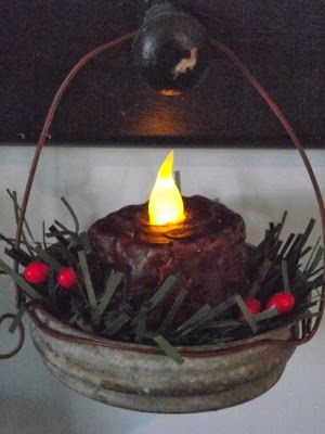 Country Mom at Home - Prim Hanging Tea Light Ornaments: I would never have thought of this, she mixed some cinnamon into some melted wax and covered the battery tea light to make it look more realistic.