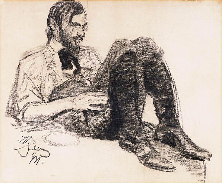 Leon Wyczółkowski (Polish, 1852-1936),Portrait of a Young Man, 1911. Black crayon on paper, 38 x 46cm. Private collection.