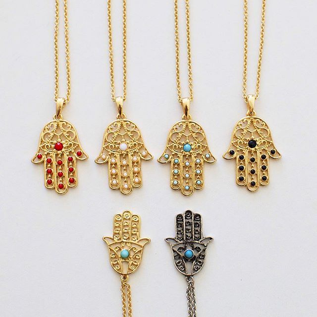 Hamsa multiple and single stone necklaces ✨ Get them now from my webshop www.shopsilah.com and use the code 'FREESHIP' to get free worldwide shipping