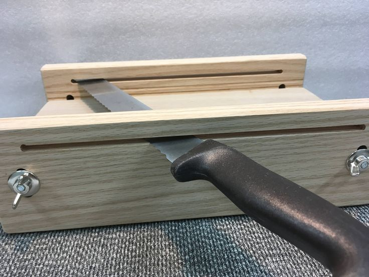 """Horizontal adjustable bread slicing guide made out of solid 3/4"""" Oak lumber"""