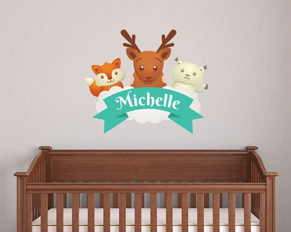 Animal Set Nursery Wall Decal With Deer Fox by LullaberryDecals