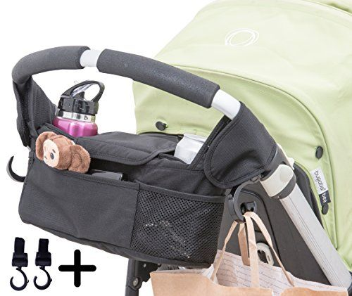 Baby Stroller Organizer with Cup Holder Pockets. Including Two Hooks for Accessories.