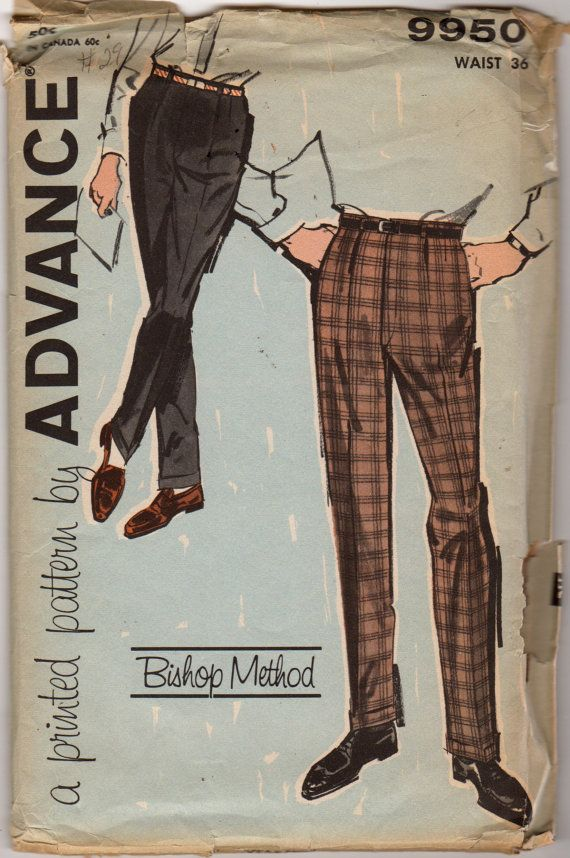 1960s  Advance 9950 Mens Cuffed Pants Pattern with Pleats Bishop Method adult vintage sewing pattern by mbchills