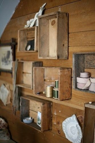 would make cute memory boxes: travel banner, cabin sign, small thermos, buck knife-anything could be displayed!