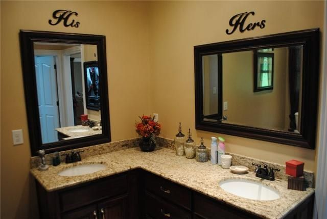His and her bathroom. Marble counter tops and double sinks.