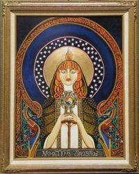 St Brigid of Ireland - the root of the word Bridgit comes from the word 'Brig' which means 'Exalted One' or 'High One.' It's a title more so than a name and it wasn't exclusive to Ireland - like the 'Bridgit' the first knights of chivalry chose as their patroness and named their 'brides' after!