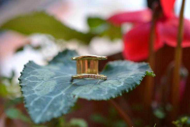 Diamond Ring Handmade Solid 18k Gold by ViazisJewelry on Etsy