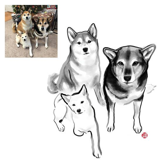 Custom Illustrated Pet Portrait Includes ONE PET ONLY