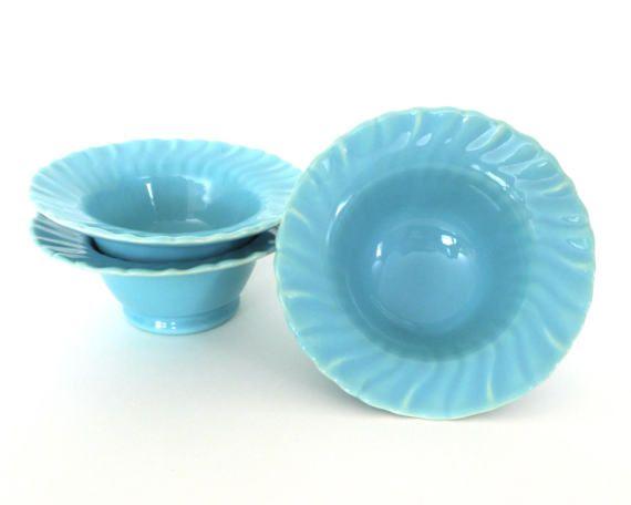 Franciscan Ware Sherbet Bowl Set of 3 Coronado Swirl Aqua