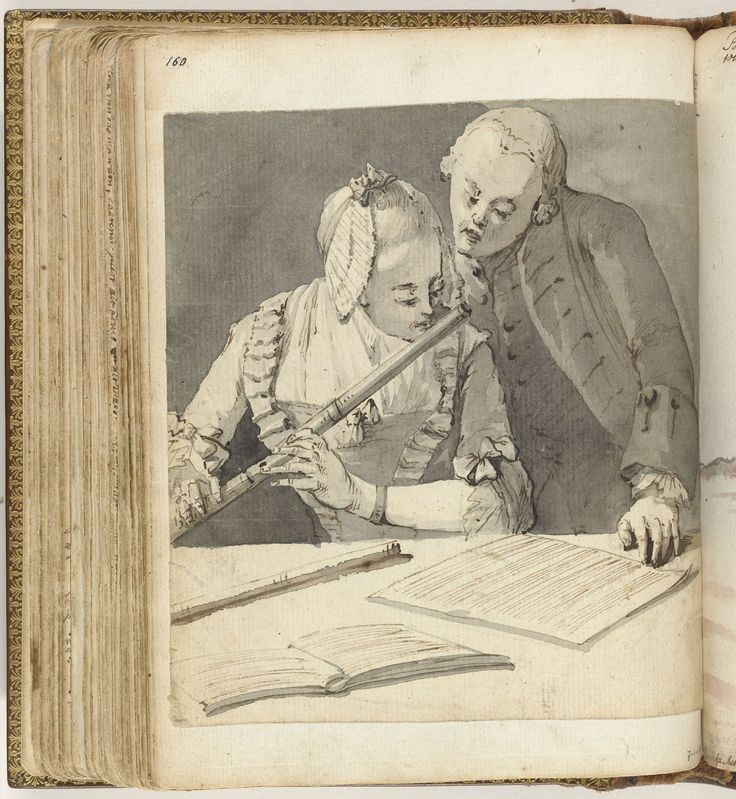Man en vrouw met dwarsfluit, Jan Brandes, 1770 - 1808. Black and white drawing of a man and woman behind a table with sheet music. The woman plays the flute, the man turns the pages. Part of the sketchbook of Jan Brandes , Vol. 1 (1808)