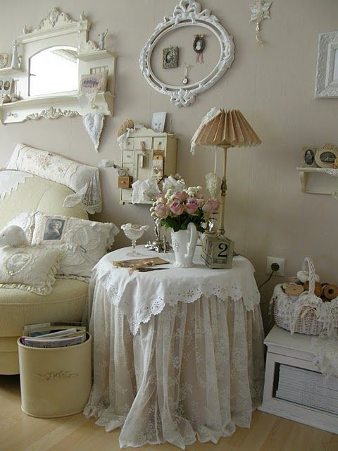 I live this room! Especially the oval frame with bow & the pillows & lace layers on the table! Shabby Chic