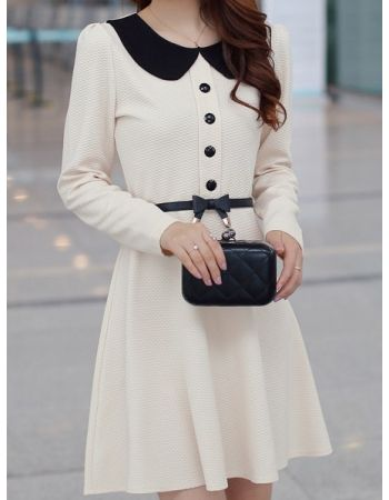 High Waist Belt Embellished Lapel Elegant Dress - MIXMOSS
