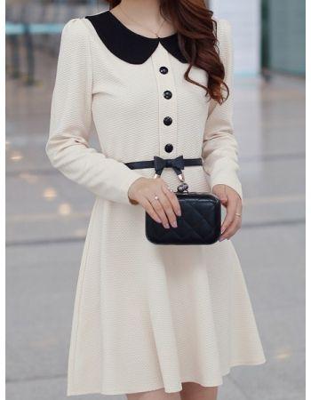High Waist Belt Embellished Lapel Elegant Dress - MIXMOSS
