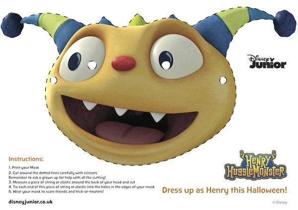 For Bentley------Free Printable Halloween Masks - Henry Hugglemonster Mask
