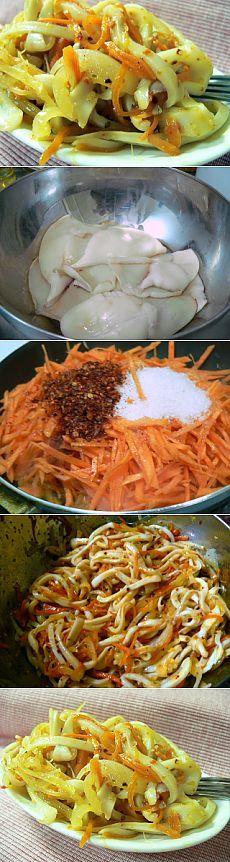 Острый салат с кальмарами | ВКУСНО ПОЕДИМ!