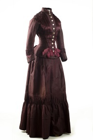 1700 Period Clothing | Plum silk taffeta two-piece dress, 1883