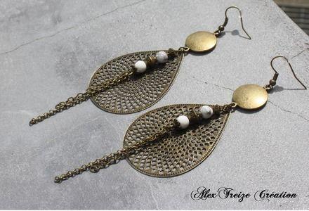 Bijou Créateur - Boucles d'oreilles pendantes bronze Antiques Breloques pendentifs estampes gouttes et Perles semi-précieuses Howlite blanc  Boucles d'oreilles mode montées su - 14603329