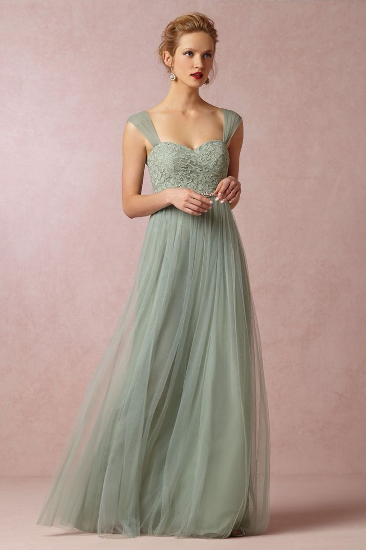 47 best bridesmaid dresses images on pinterest marriage wedding simple straps natural floor length tulle green sleeveless evening dress with ribbons ombrellifo Images