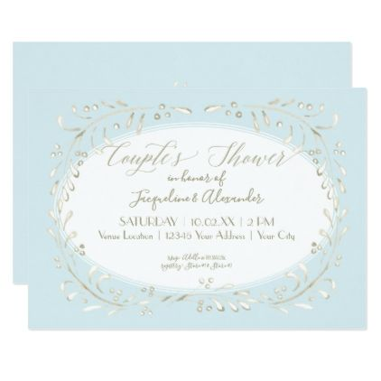 Couples Shower Simple Watercolor Wreath Leaf Art Card - wedding invitations diy cyo special idea personalize card