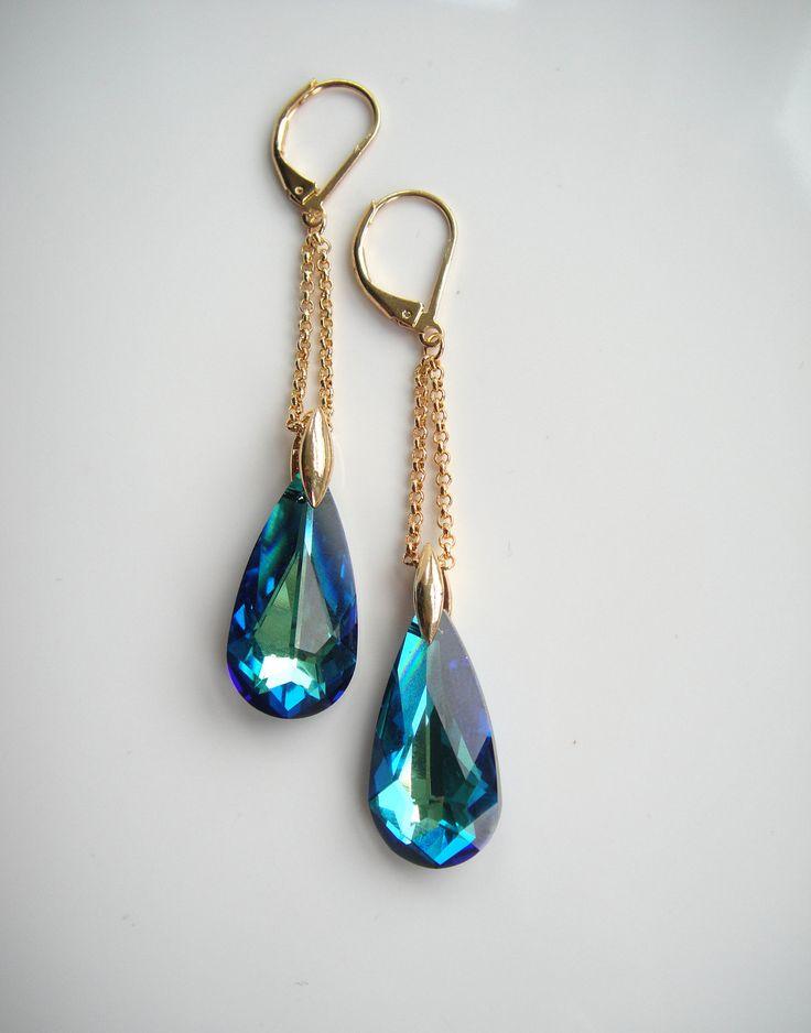 Swarovski Jewellery, Gold Earrings, Swarovski Crystals, Dangle Earrings. £25.00, via Etsy.