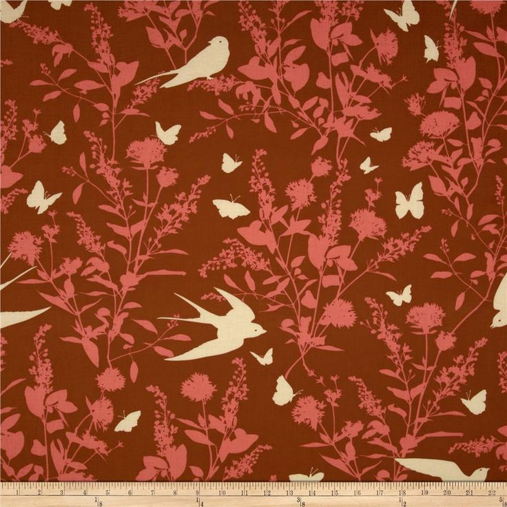 Joel Dewberry Bungalow Swallow Study Chestnut from @fabricdotcom  Designed by Joel Dewberry for Free Spirit, this cotton print is perfect for quilting, apparel and home decor accents. Colors include cream, sienna and coral.