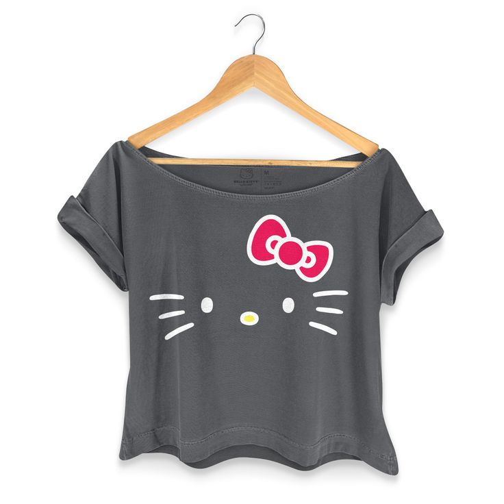 T-shirt Premium Feminina Hello Kitty Black #bandUPStore #HelloKitty #Fashion