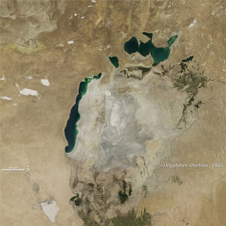 Der Aralsee stirbt. Erstmals ist das östliche Becken des einst gigantischen Gewässers in diesem Sommer vollständig ausgetrocknet. Ein Satellitenbild-Vergleich zeigt das Ausmaß der Umweltkatastrophe. – Wilhelm Weber Jr