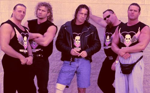 "From Right To Left: The Hart Foundation... Davey Boy Smith, Jim ""The Anvil"" Neidhart, Bret ""The Hitman"" Hart, ""The Loose Cannon"" Brian Pillman & ""The Black Hart"" Owen Hart."