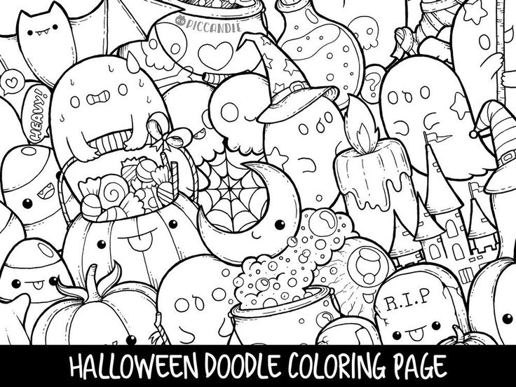 nice Halloween Doodle Coloring Pages, Nice Halloween