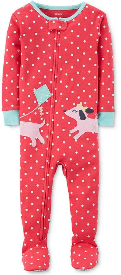 8524a9806 Carter s 1-Pc. Dot-Print Dog Footed Pajamas