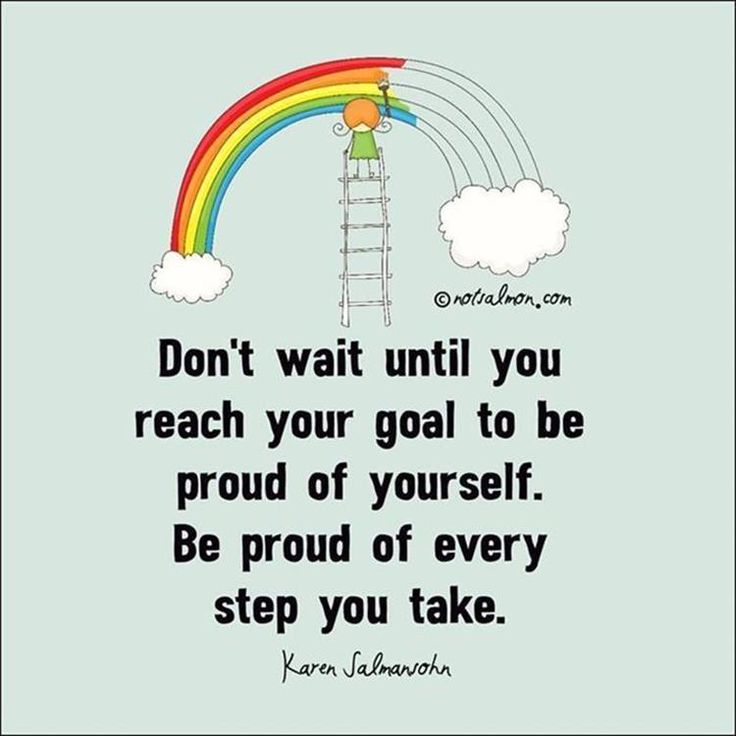 Don't wait until you reach your goal to be proud of yourself. Be proud of every step you take - Karen Sahnasotn Quote