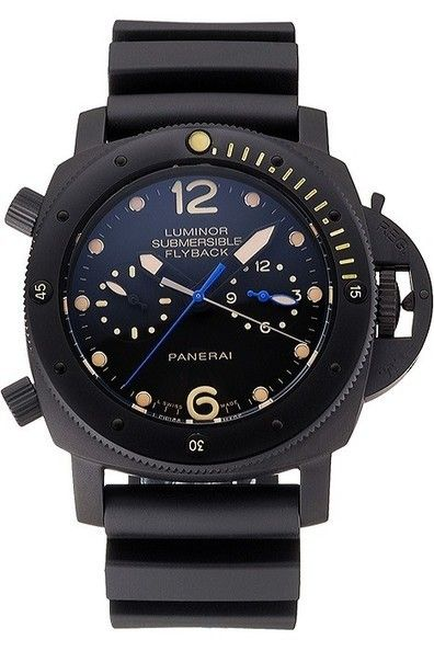 Replica Panerai Luminor Submersible Flyback GMT Black Dial with Yellow Hour Markers Ion Plated Case and Bezel Watch with Black Rubber Strap