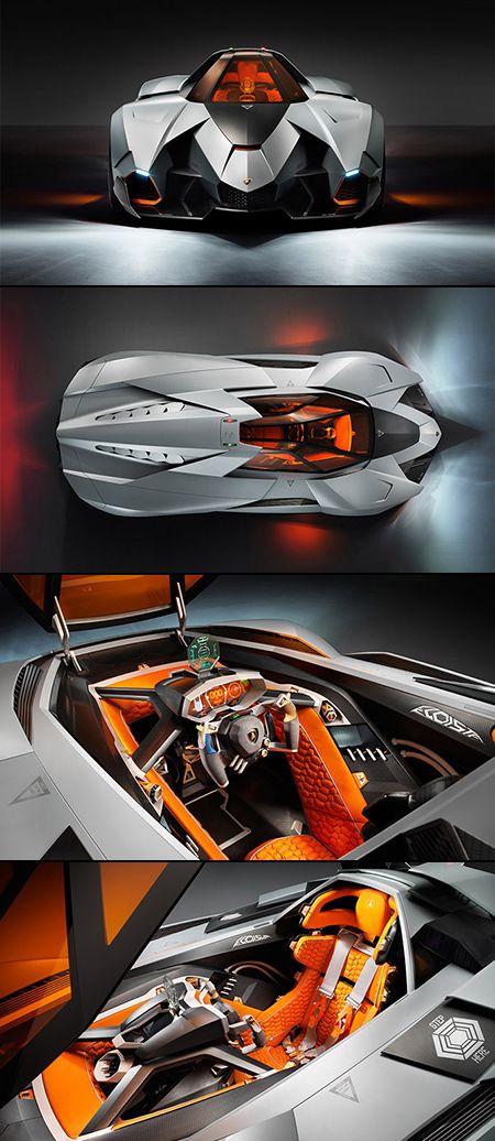 Voiture : Lamborghini Egoista (Concept dévoilée à une fête privé, pour célébrer ses 50 ans. Egoista le Concept a la pièce pour un occupant seul, est actionné par un moteur V10 5,2 litres avec 600 chevaux,  inspiré d'un hélicoptère d'Apache)