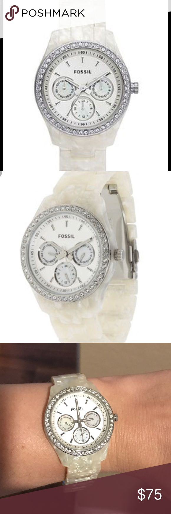 Women's fossil watch with pearl band Fossil- Stella mother of pearl (white) with glittering crystal accents around the face of the watch Fossil Accessories Watches