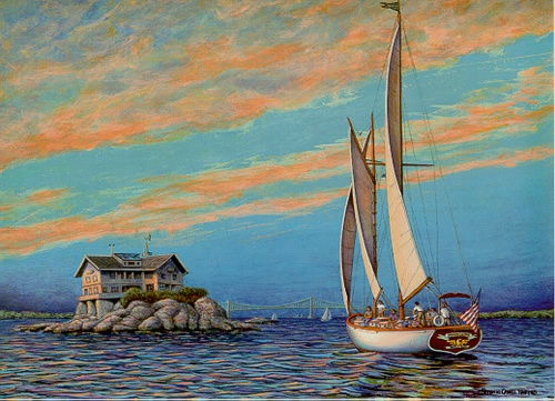 painting of madeleine sailing by clingstone in narragansett bay - Clingstone Narragansett Bay