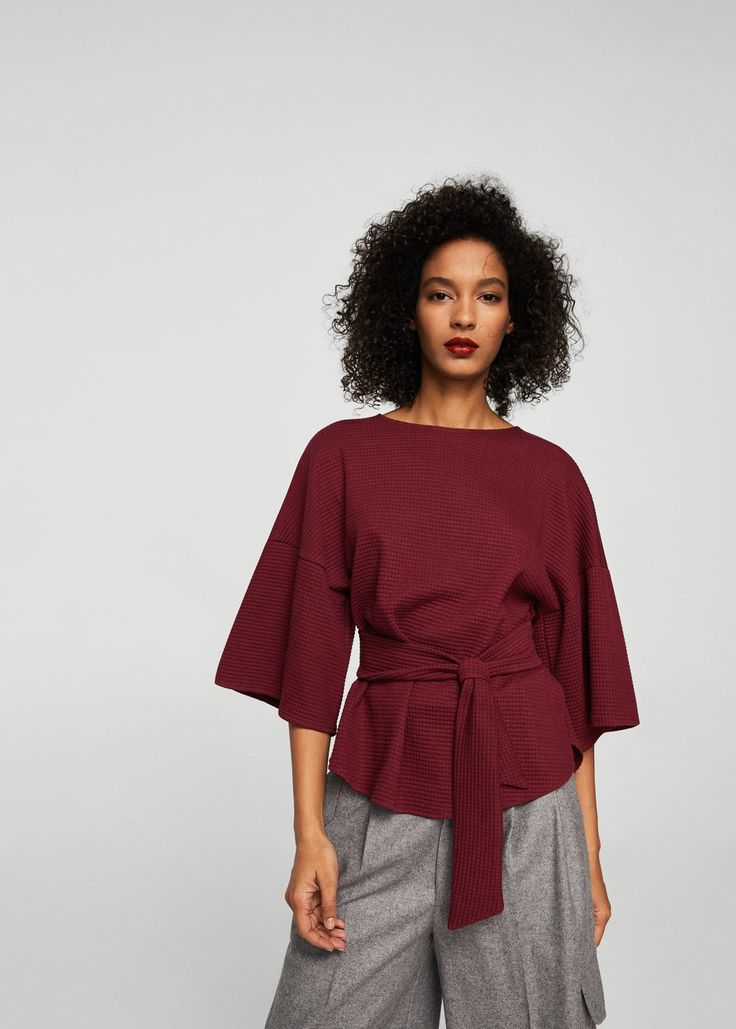 Tričko s texturou a mašličkami   MANGO