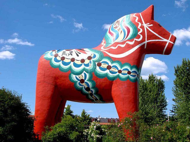 The world's largest Dala Horse (36 feet high) in  Dalarna, Sweden.