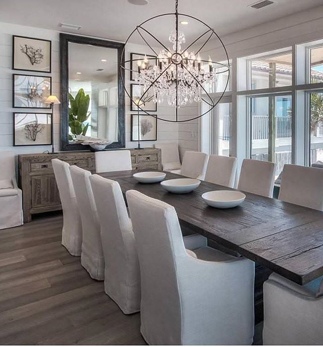 Lovely Modern Coastal Dining Room With Tongue And Groove Wall Paneling,  Slipcovered Linen Chairs And Wide Plank Floors.