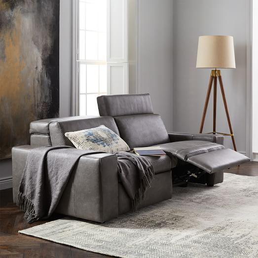 Enzo Leather Reclining Sofa   westelm