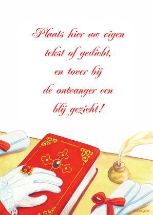 Nostalgische illustratie van het boek van Sinterklaas, met ruimte voor eigen gedicht (leuk bij het kado op pakjesavond)!