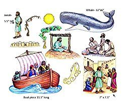Jonah and the Whale Felt Figures for Flannel Board Bible Stories-precut