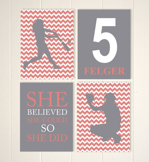 Softball room decor, softball wall art, girls sports art, baseball art, pre teen gift, set of 4, custom colors and sports by PicabooArtStudio