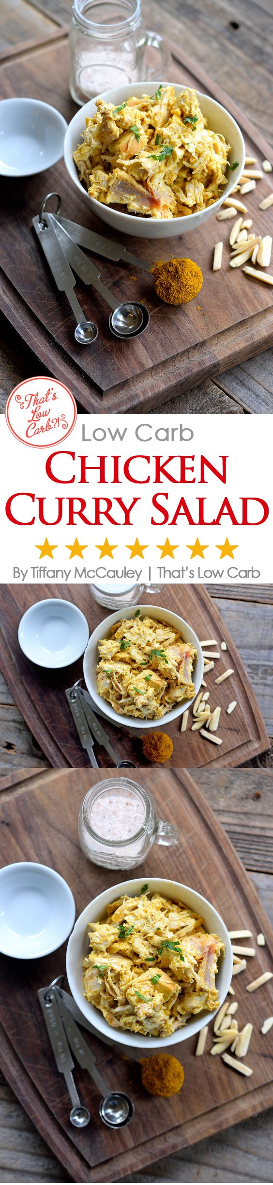 This delicious, low carb chicken curry salad is easy to make, travels well for lunch and will keep you full until dinner! From SkinnyCarb.com ~ http://www.thatslowcarb.com