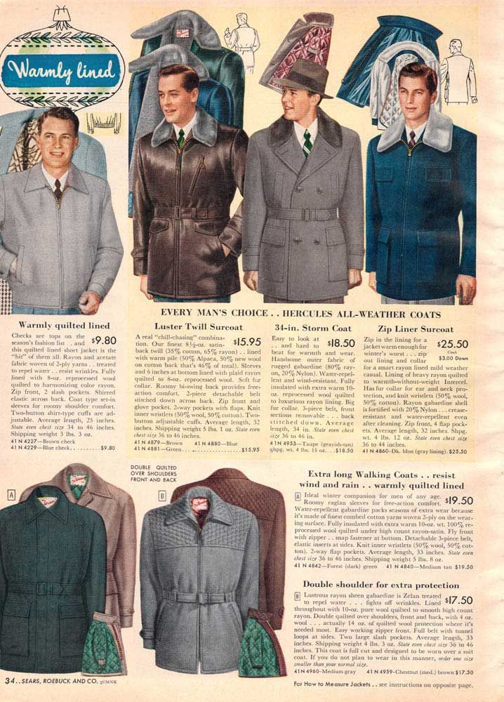 Vintage Mens Winter Coats From A 1952 Sears Catalog