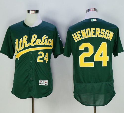 24abaa1e039 ... Athletics 24 Rickey Henderson Green Flexbase Authentic Collection  Cooperstown Stitched MLB Jersey.