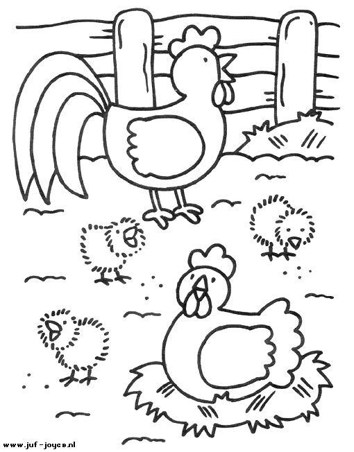 Kleurplaat: Boerderij - kippen Juf Joyce