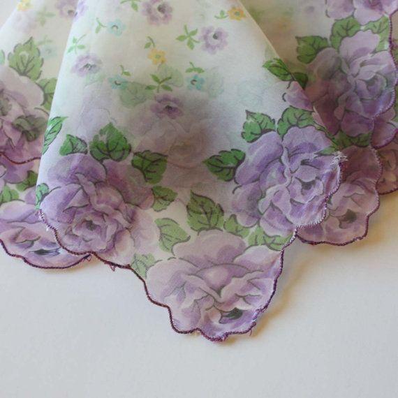 Vintage Handkerchief with Floral Design via Etsy