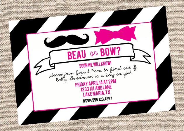 Gender Reveal Party Invitations: Beau or Bow: Reveal Parties Invitations, Gender Reveal Parties, Bowman Gender, Party Invitations, Bows, Shower, Invitations Ideas, Custom Colors, Girls Parties