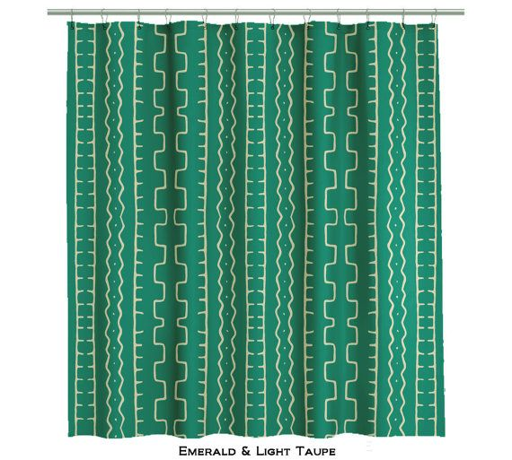 Emerald Green Shower Curtain in African Mud Cloth  by anitavee, $79.00