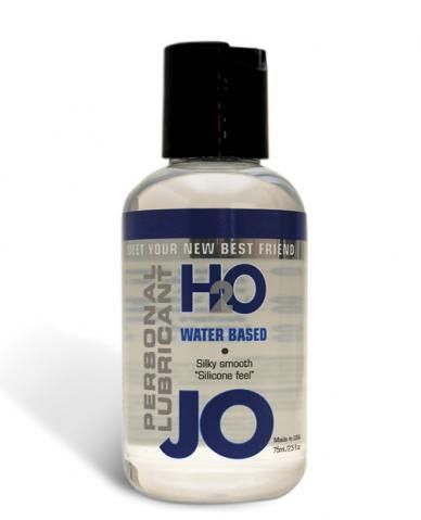 JO H2O Water based lubricant has similar feel and viscosity to silicone, yet contains no oil, wax or silicone. JO H2O is long lasting and silky smooth.